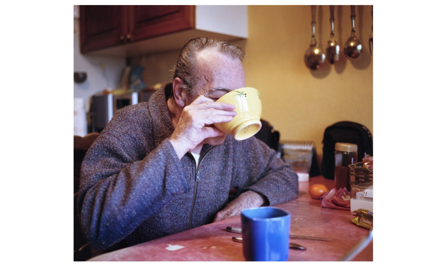 Robert Dherbeys, 70 years old, alone at breakfast, Romans France 4th of December 2014