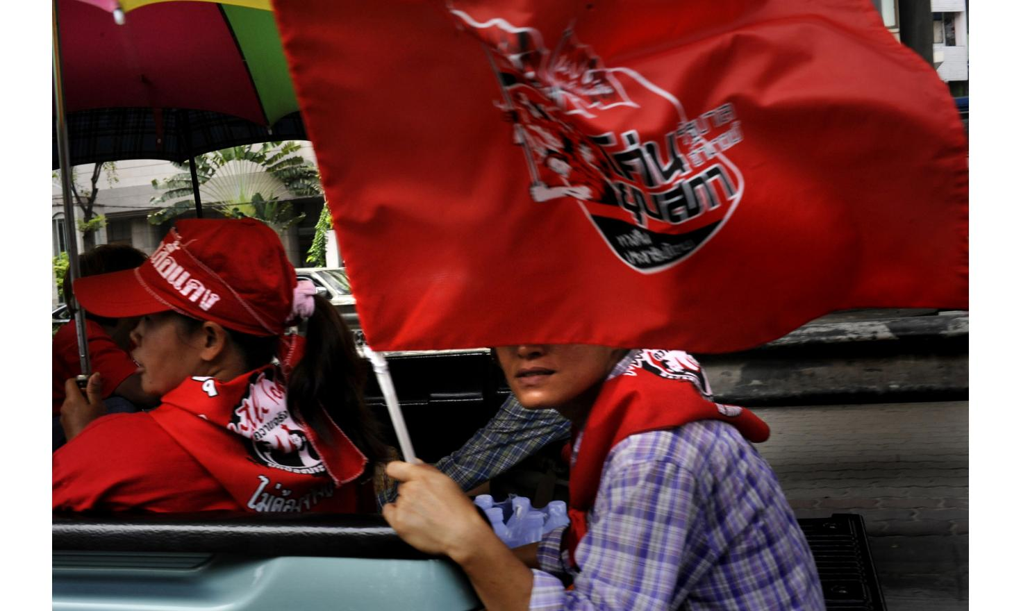 Thai Red shirts Protestors rallied all around the city from morning. Several rallies looped around town, while some converged or stopped eventually at PM Abhisit house on Sukhumvit, Bangkok Thailand