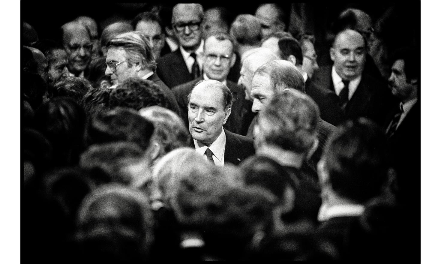 French president François Mittterrand receives for the first time the constitutional bodies. He was elected last may. Paris. January 4, 1982.