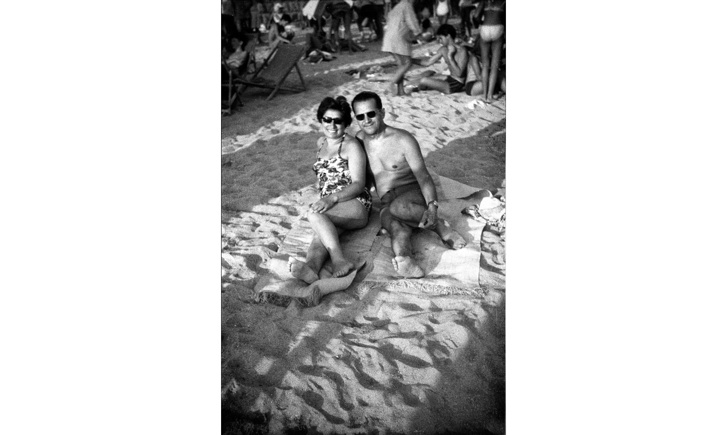 My parents on the beach. They were not getting along, shouting at each other very often. Cannes,august 1962.