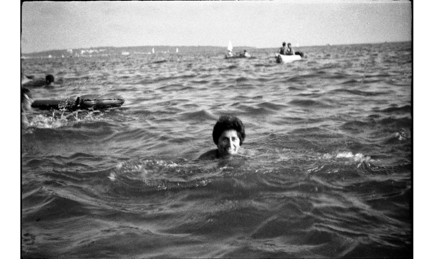 My mother is pretending to swim. Cannes, august 1962.