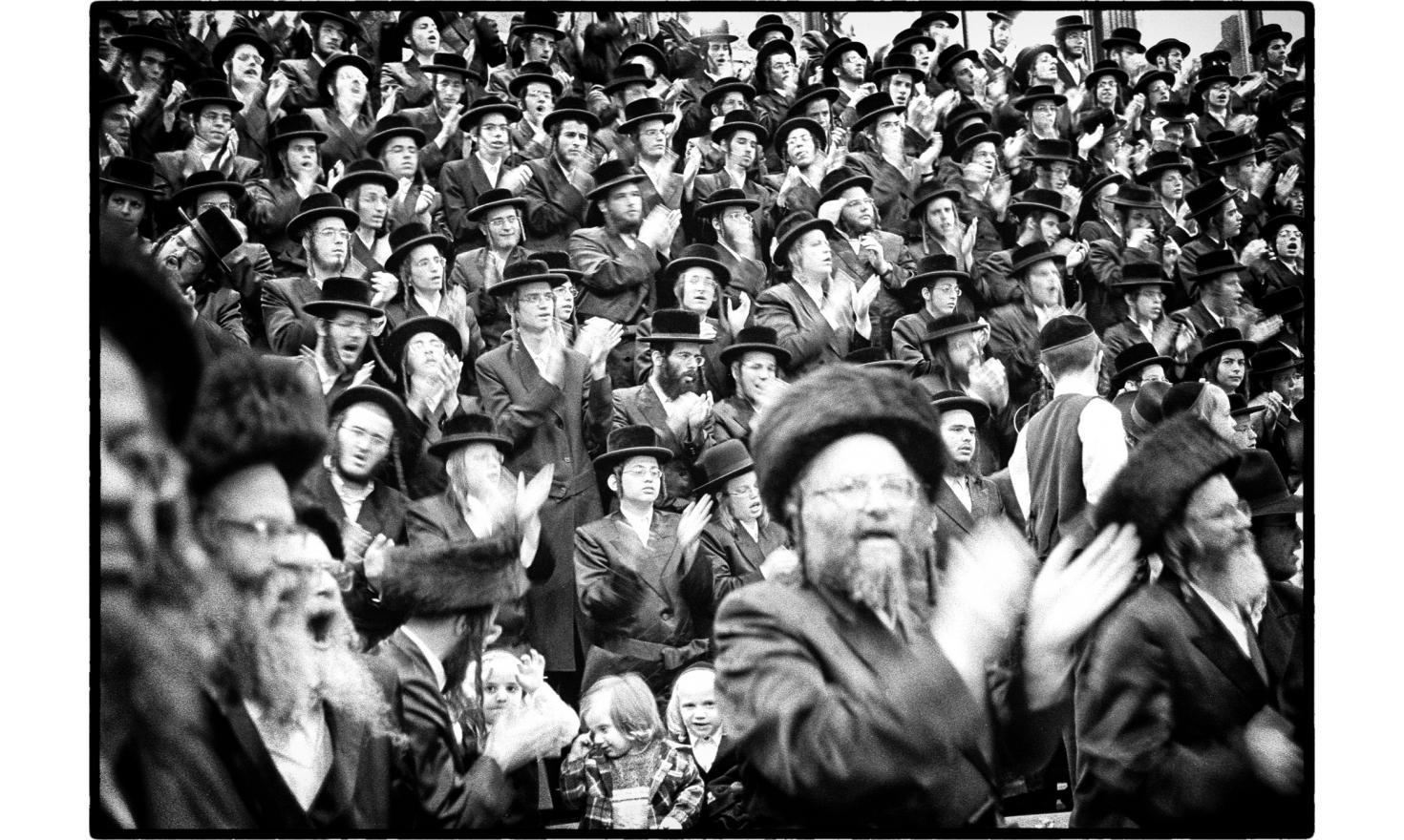 Haredim in a synagogue during festivities. Jerusalem, Israel. September 2009.