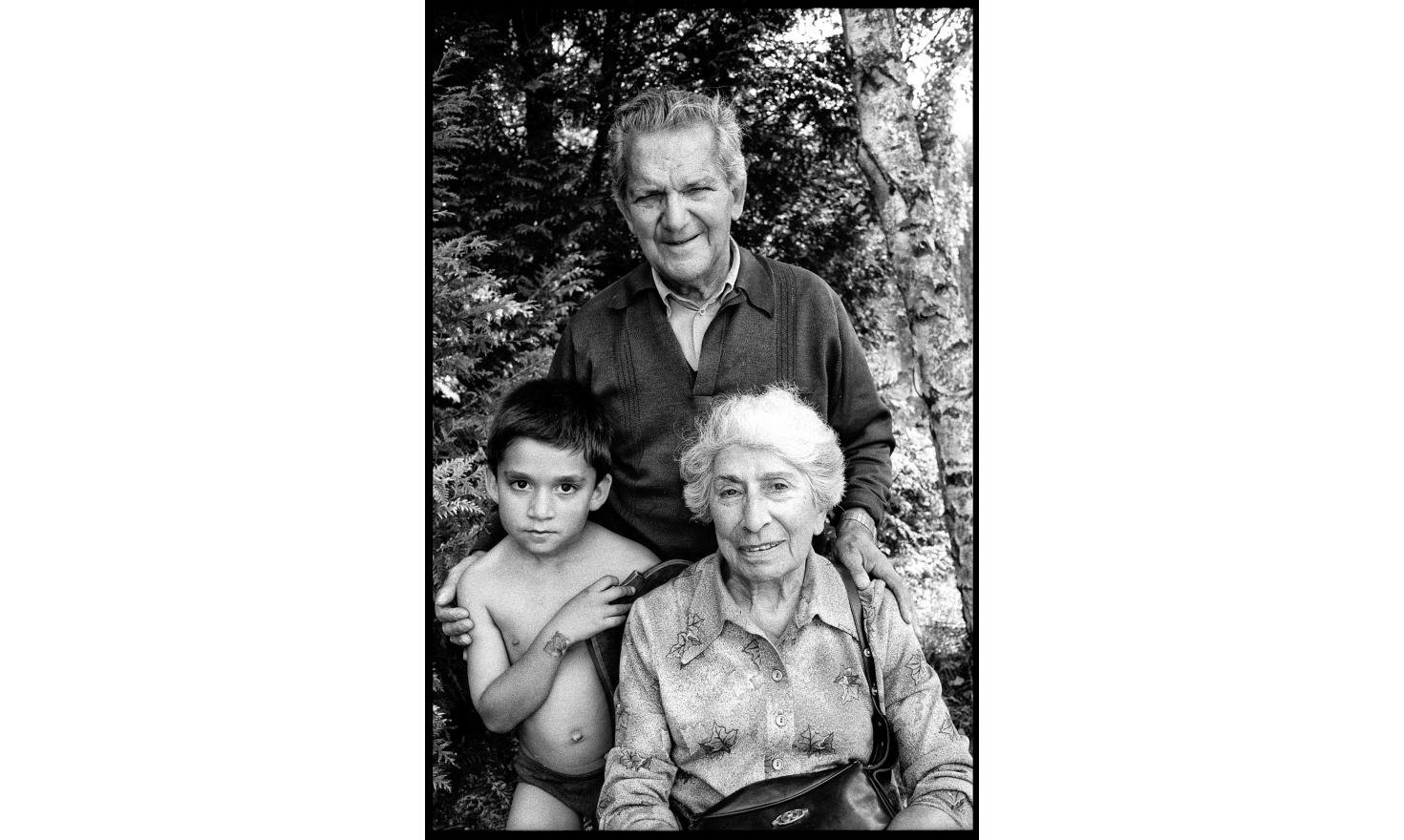 My son Leo with my parents. This is one of the few photographs of the three of them. Oddly, my parents seem serene. My mother is sinking more and more in the disease of forgetfulness. Igny, 1998.
