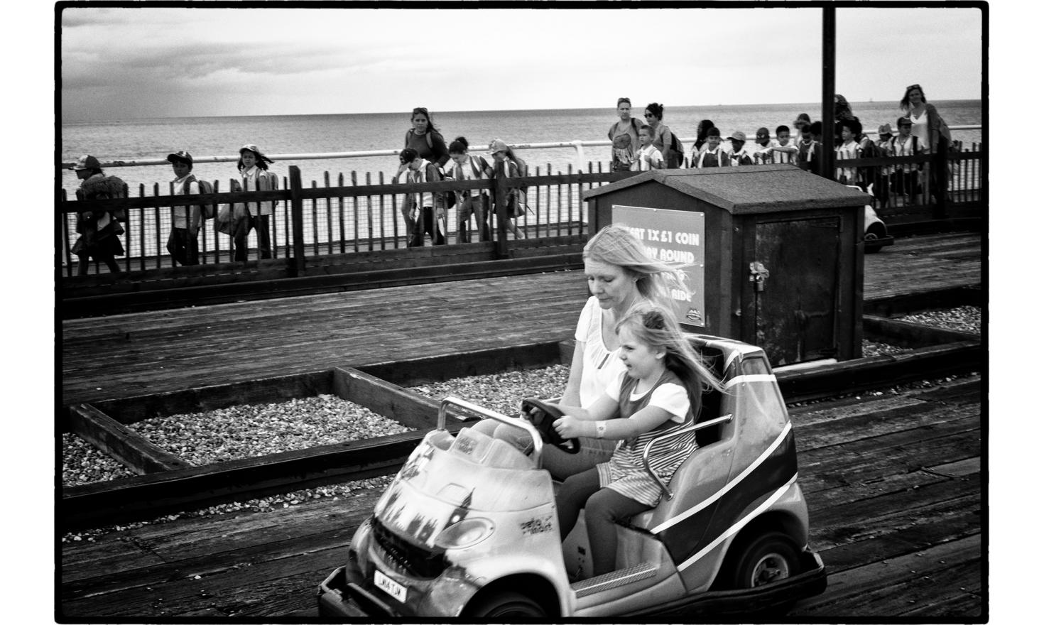 Driving school on the pier. Clacton on sea, England. July 2016