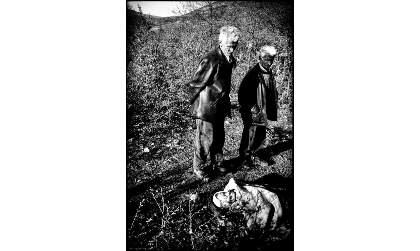 Beaten by serbian police, an old woman died soon after she entered in Albania. 04-1994