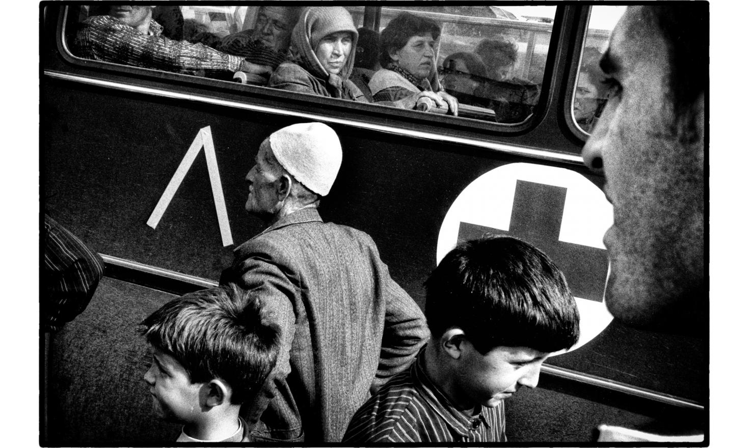 Albanian refugee waiting for a plane to Germany. Skopje, Macedonia. 04-1999