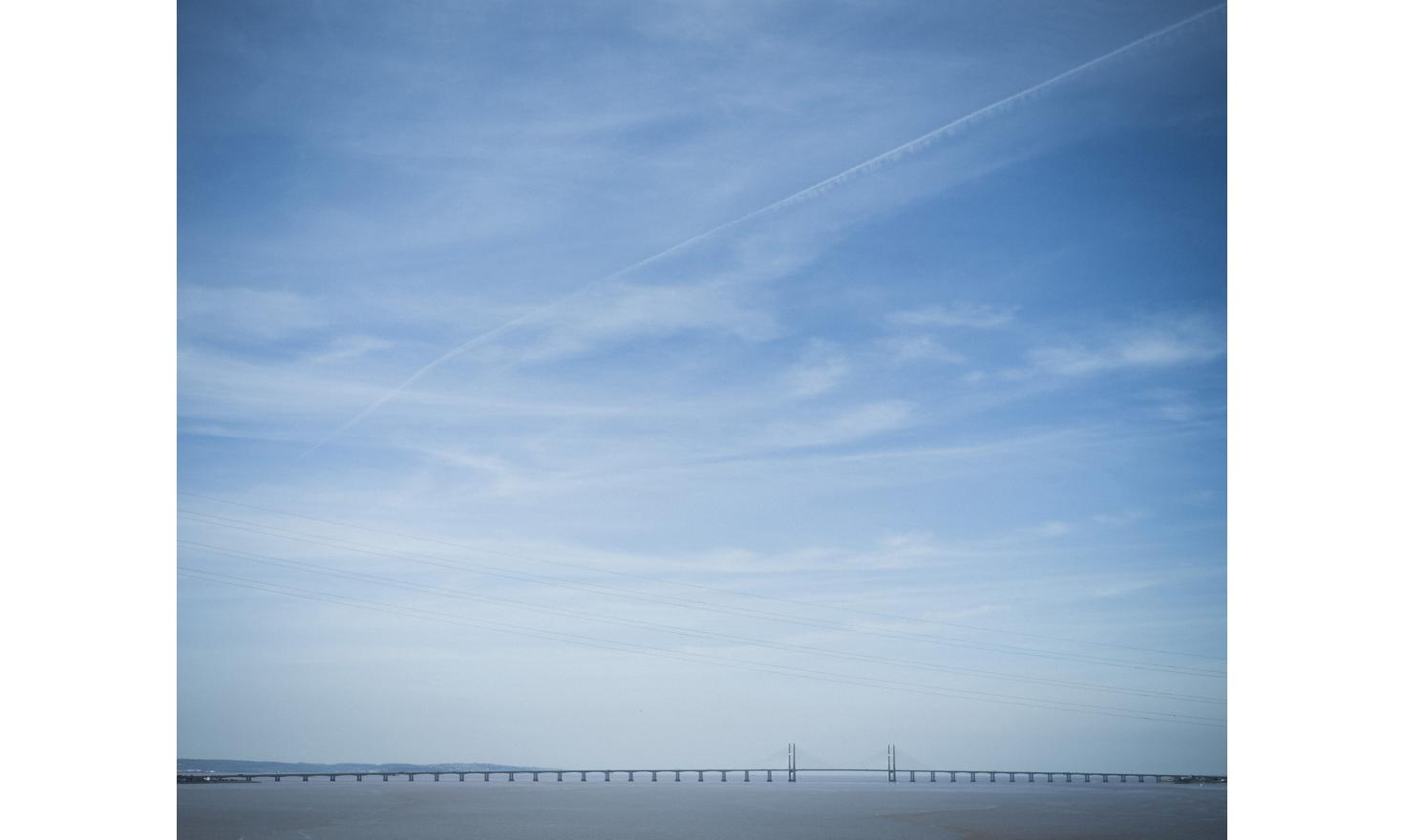 The Bristol channel, that separates England from Wales, seen from the motorway.