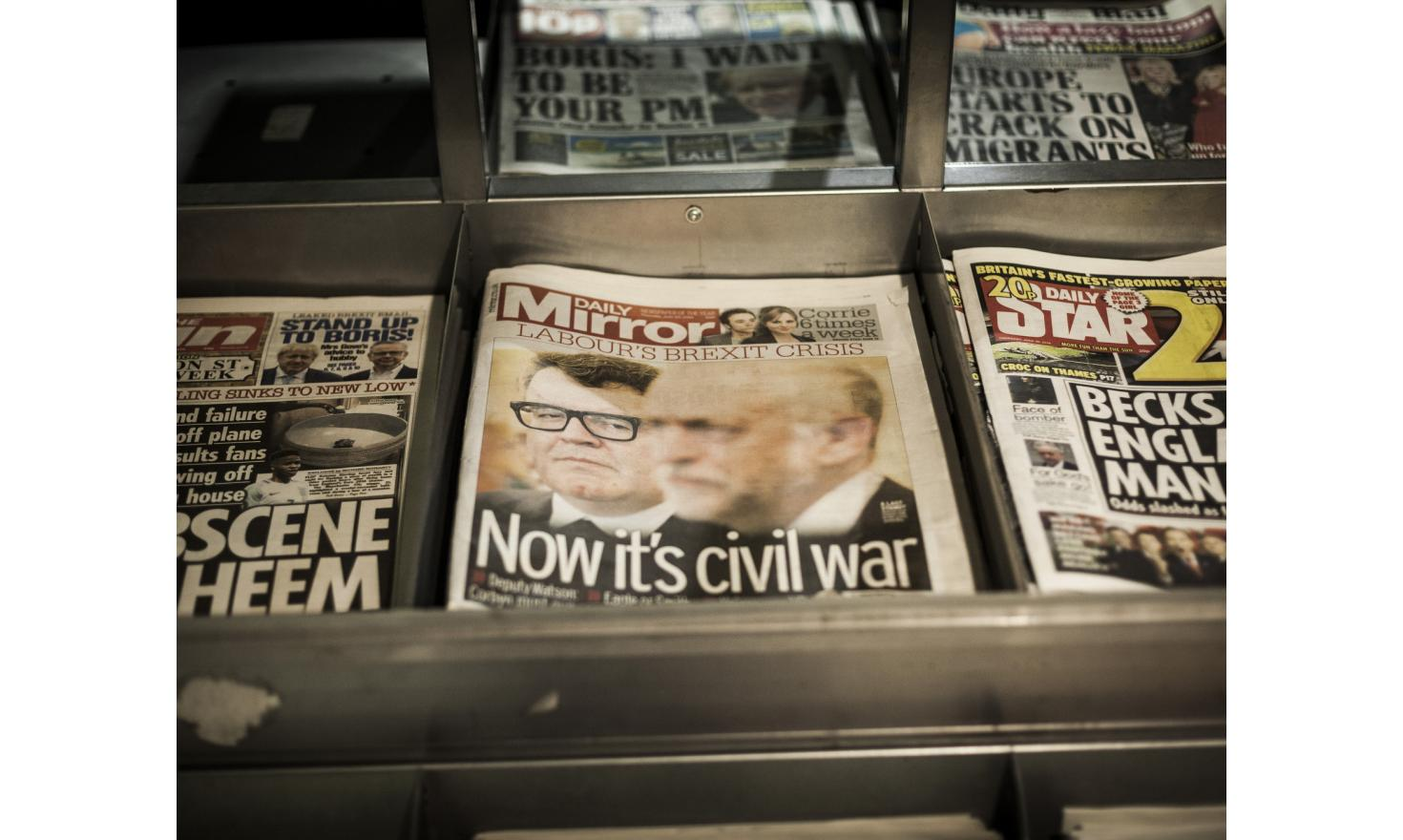 A newspaper with the headline that reads: Labour's  Brexit Crisis - Now it's civil war.
