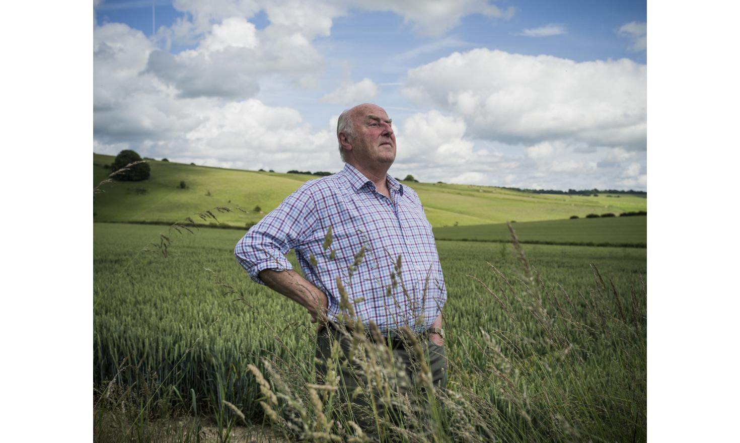 Robert Lawton, standing in the fields that surround his 1800 hectares farm near Marlborough in Wiltshire. Lawson voted to leave the European Union, as he is convinced that Britain is better off without all the bureaucracy.