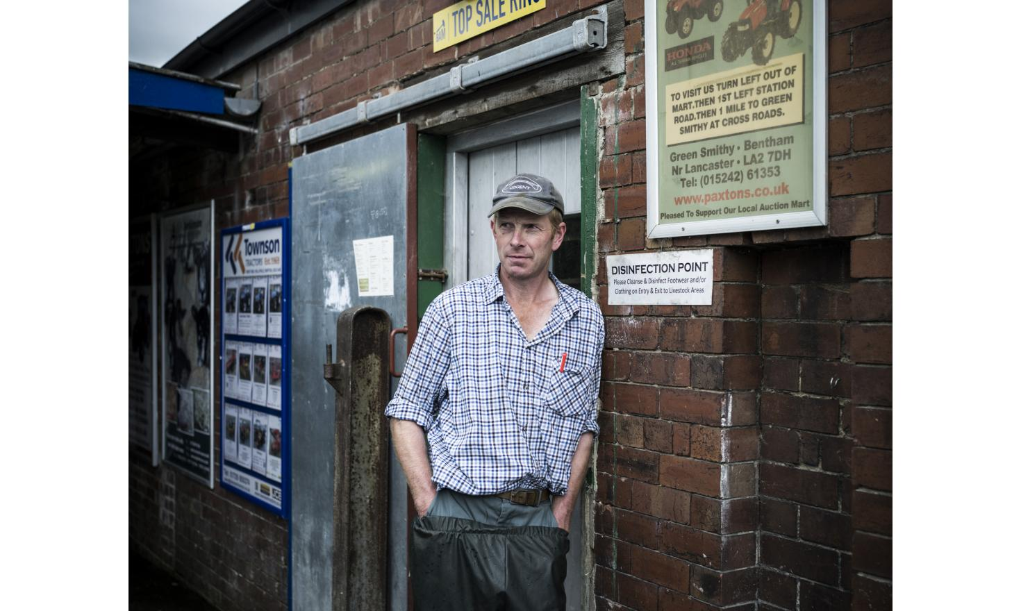 Bryan Carter, a Yorkshire sheep-farmer, pictured at Bentham Auction Mart. Sheep, cattle and pigs are sold here, essentially to meat wholesalers. Many local sheep farmers voted to leave the UE in the referendum, despite the loss of generous subsidies.