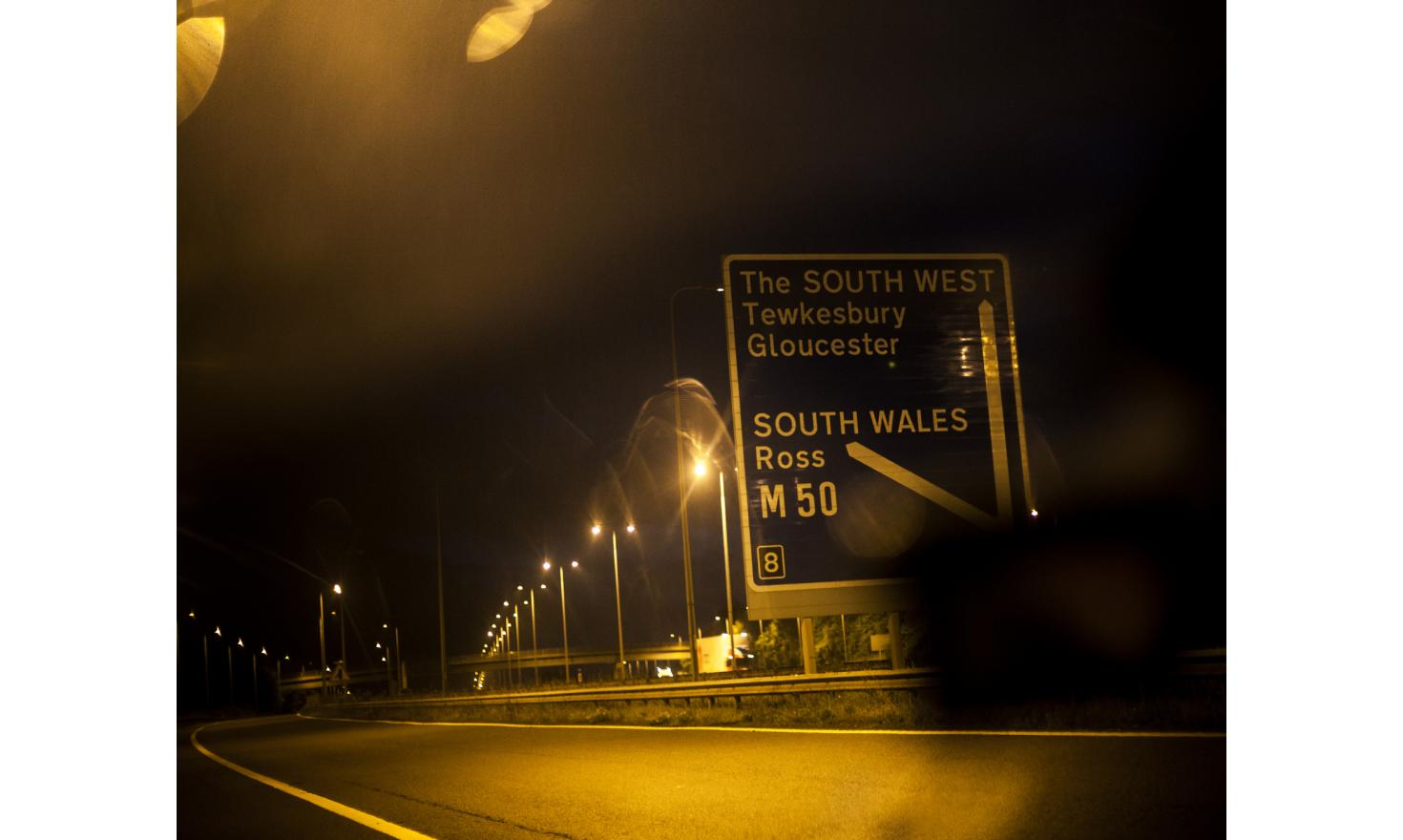 On the M5 motorway that runs north-south down the west of England, at one of the junctions leading to south Wales. Wales was the only country besides England, to vote out of the European Union.