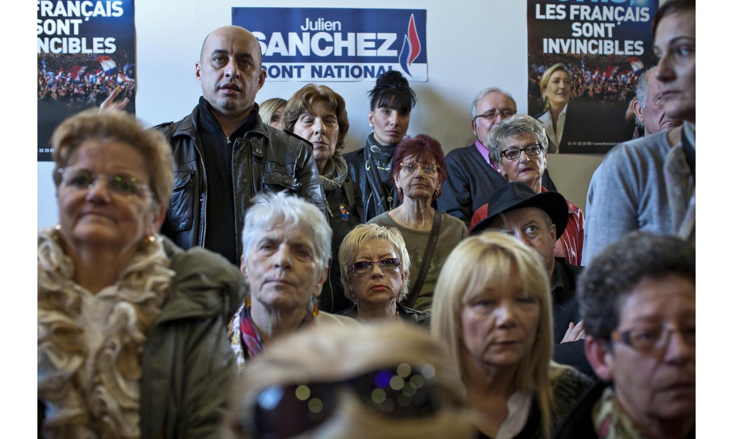 Beaucaire, February 22, 2014. Activist during marine Le Pen's meeting with David Sanchez