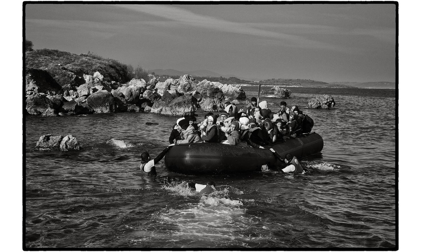 Lesbos, Greece. The Turkish authorities estimate that almost 850 000 migrants, mainly Syrians, Afghans and Iraqis, tried to cross to Greece from the Turkish coast in 2015. Hundreds of people arrive on the beaches of the Greek islands every day.