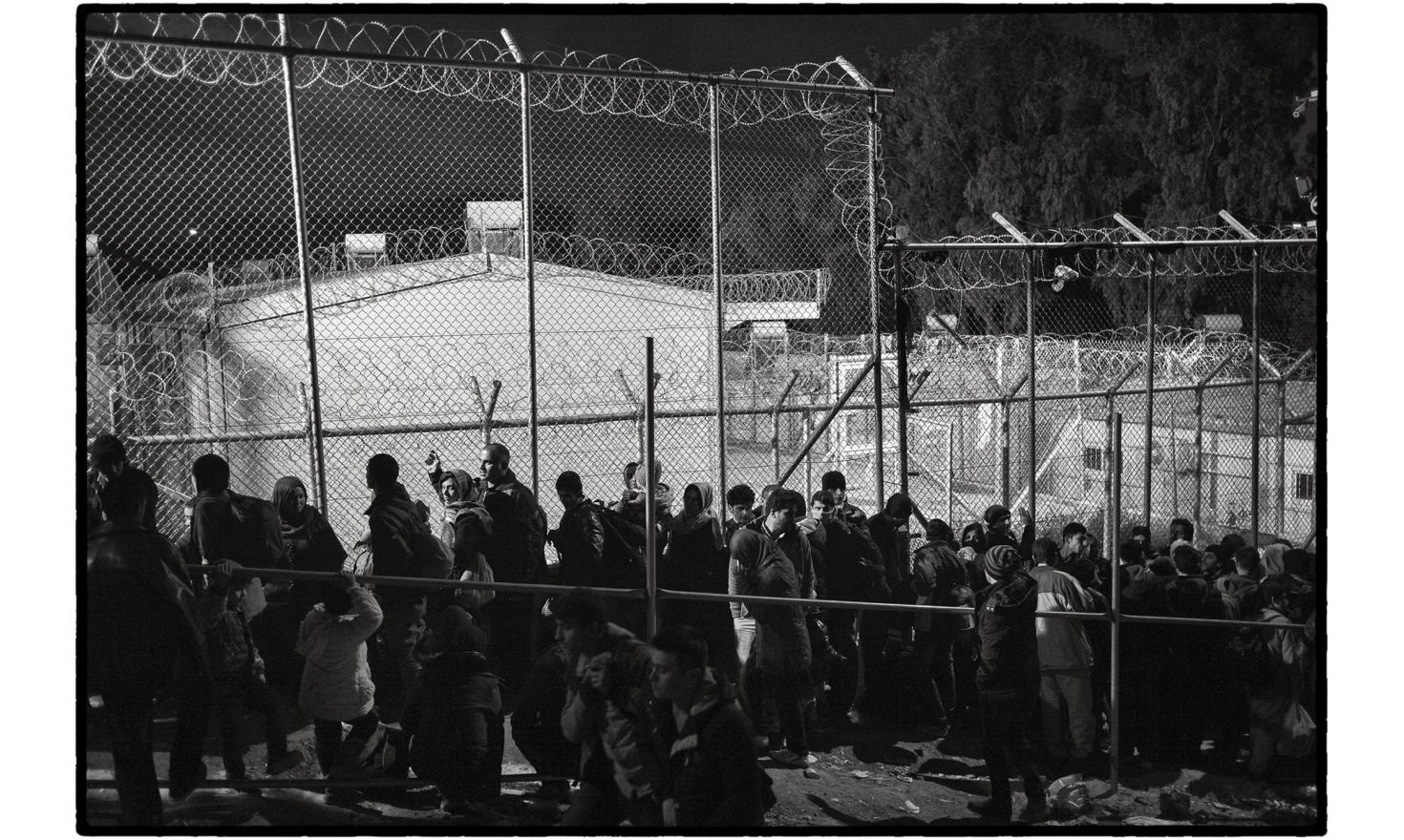 Lesbos, Greece. Moria is the first 'hotspot' centre for registering their arrival in Europe. It is also where they are first separated according to nationality.