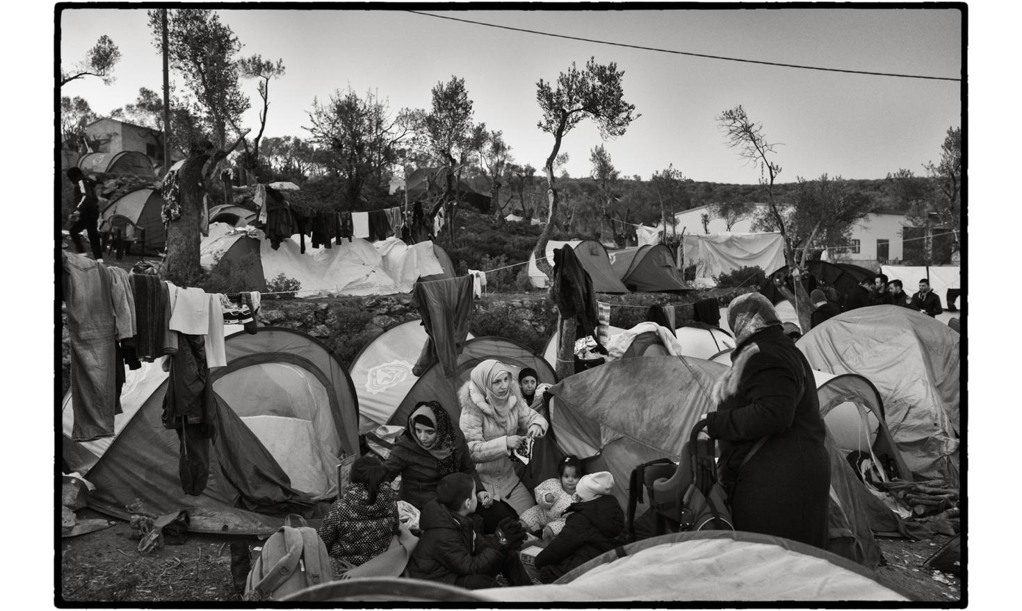 Moria 'Hotspot', Lesbos, Greece. When darkness falls, many of them have to spend the night in what was originally a transit camp. Here danger lurks and overcrowding is the norm, creating an additional source of anxiety for the women