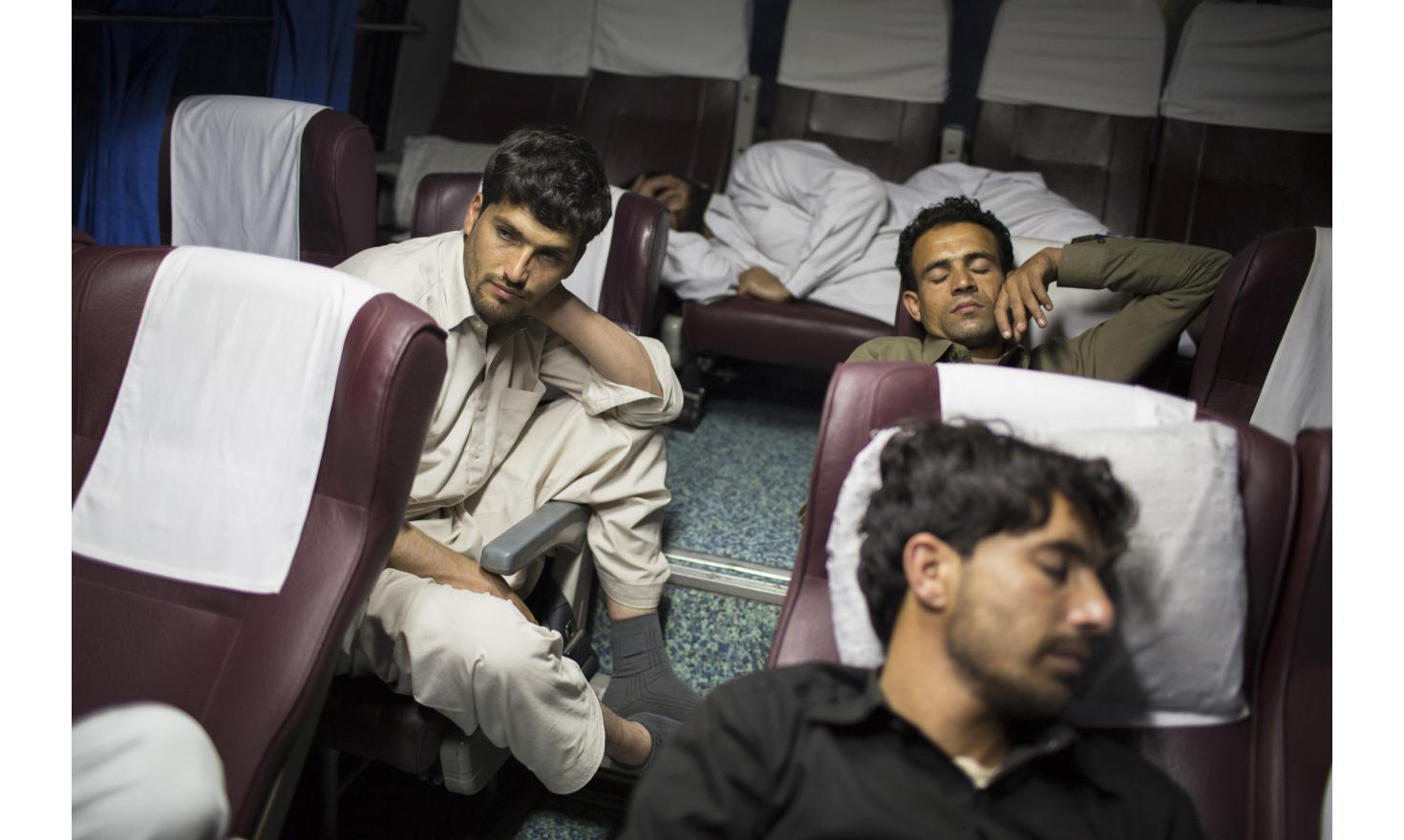 Between Peshawar and Lahore, Pakistan 23/04/2013 Rohani in the bus going from Peshawar to Lahore at night.