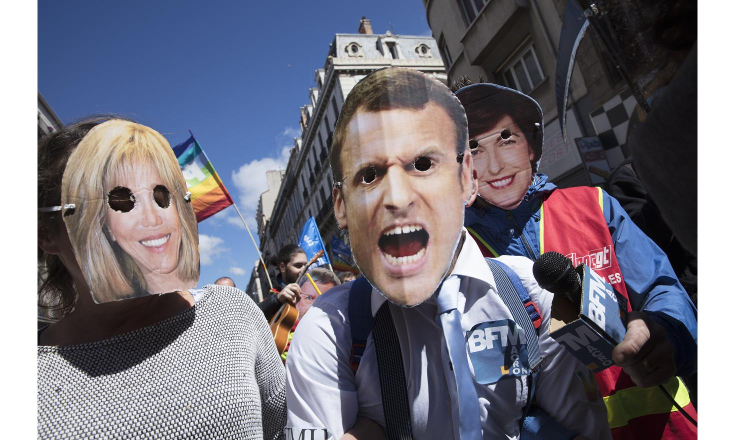 Several thousands of people march against the far-right Front National and Emmanuel Macron, in Marseille streets, May 1st 2017.