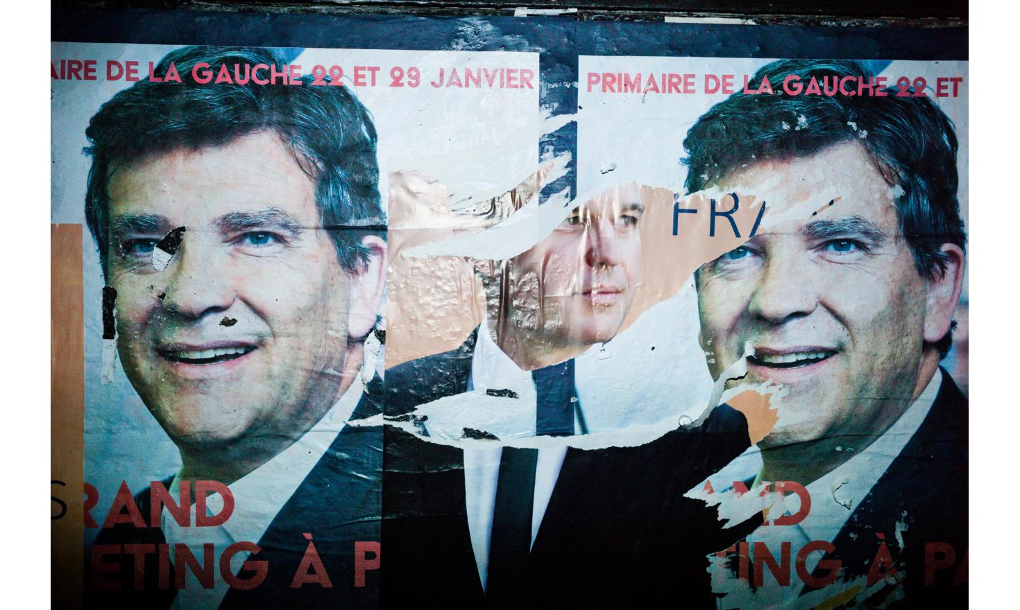Street posters with Arnaud Montebourg and François de Rugy