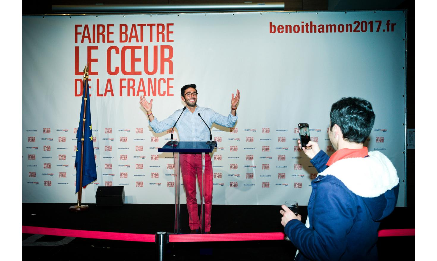 Evening of results with the mutuality with Benoît Hamon for the primaries of the socialist party.