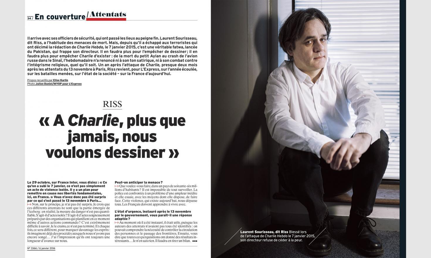 Le dessinateur Riss de Charlie Hebdo